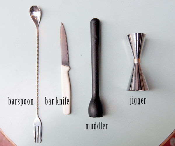 Home bar cocktail tools