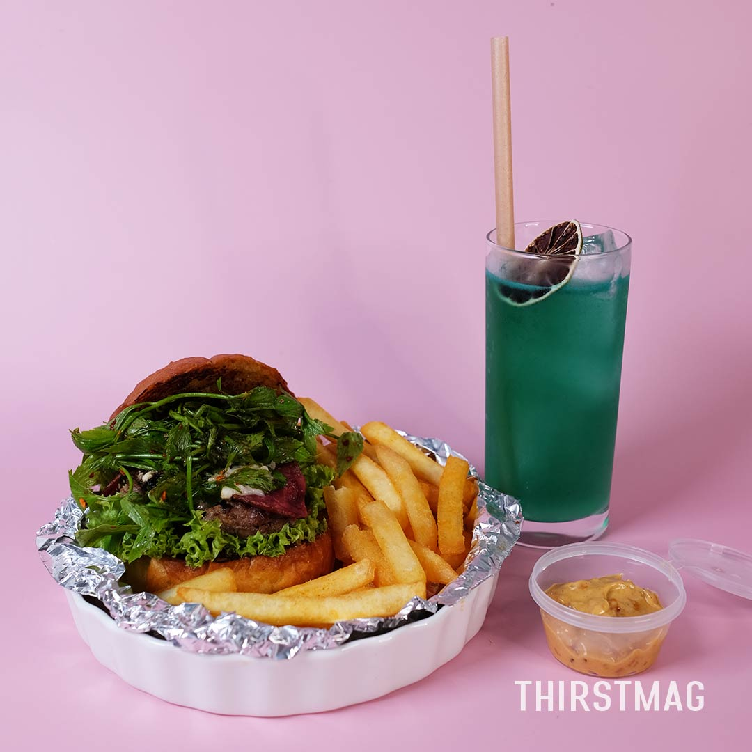 Ulam Goat Cheese Burger Amboi Mocktail