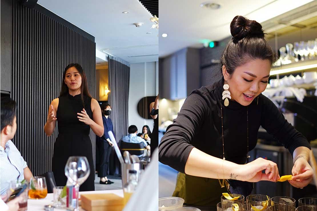 Maria's daughter Angeline Tan and bartender Amanda Wan