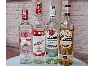 Basic clear spirits for home bar