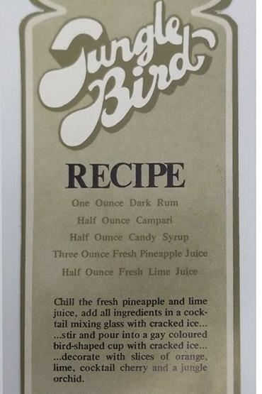 Jungle Bird cocktail recipe card