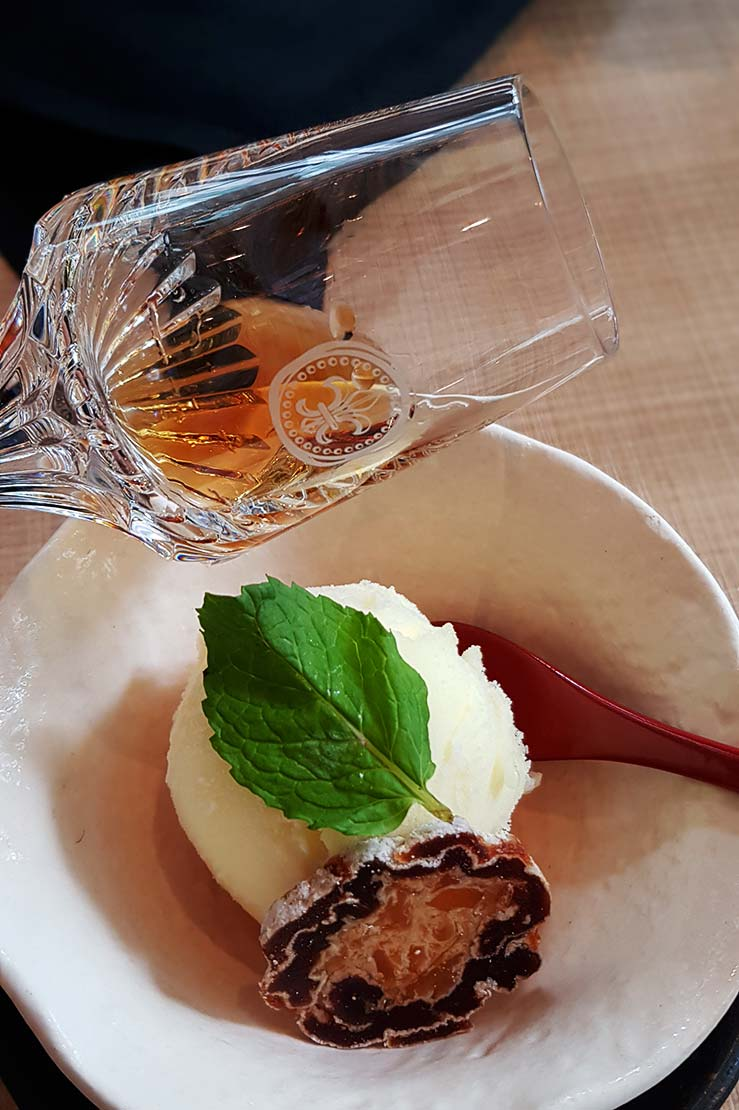 Louis XIII paired with Yuzu sorbet by Kampachi EQ