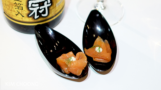 Smoked trout with Cho Tokusen Gold Leaf