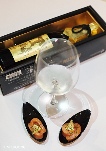 Smoked trout with gold leaf sake