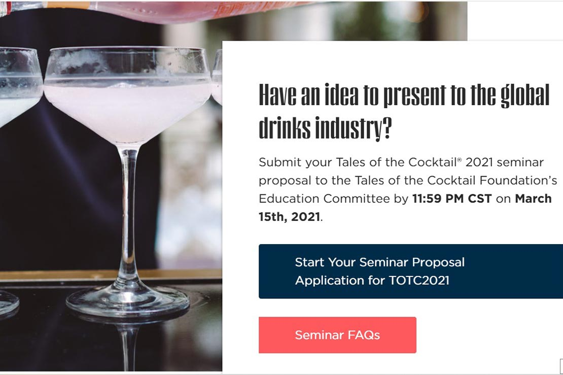 Tales of the Cocktail Appeal for Seminar Submissions